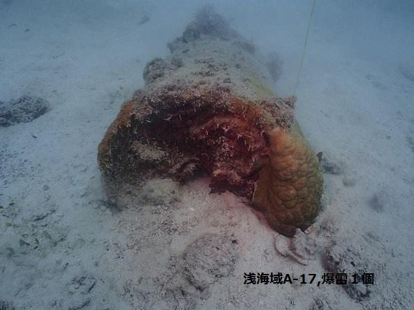 浅海域の爆雷
