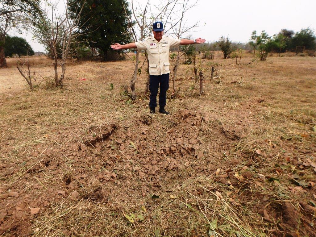 CBPD 2段重ねの対戦車地雷を処理後の爆破痕
